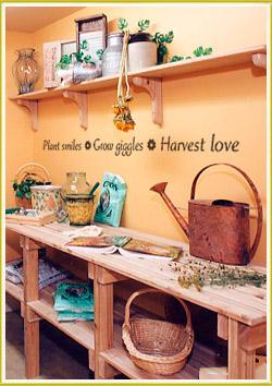 inspirational wall lettering decal below hanging wooden shelf in garden room