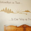 Inspirational wall decal about relationship above the bedroom headboard with design images on the wall.