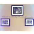 Remember Moments - A family inspirational wall decal in the center of the 3 family pictures with frames in black and white.