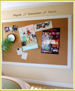 kid's room wall words above bulletin board in kid's bedroom