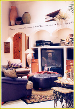 style wall quote above series of arched vaults in Southwestern great room