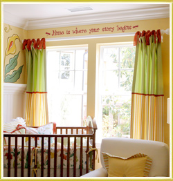 kid's room wall decal above two large window panels in kid's nursery