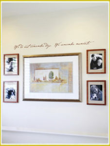 photo wall lettering decal above picture and photo gallery