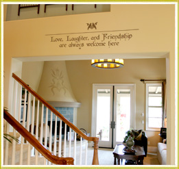 focal point wall decal across beam divider in foyer