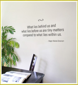 inspirational wall quote beside study area