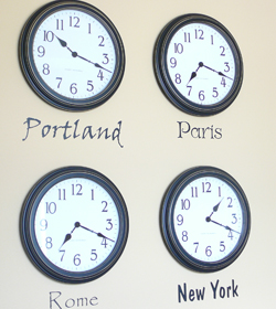 Wall words in 4 countries showing its different time zone