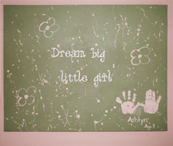 Dream big little girl wall decal with 2 hand-prints