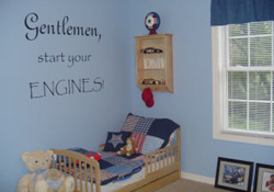 kids wall decal lettering over a toddler bed in a blue race car themed boy's room - Gentlemen, start your engines