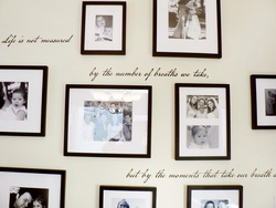 Inspirational wall decal with photos on families in black and white background