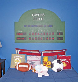 Wall words in the boy's football themed room - Owens Field
