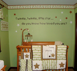 Twinkle twinkle little star....Do you know how loved you are? a decal on a mint green wall with red and white stars above the baby's crib inside the Baby's nursery room.