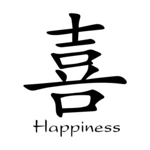 Happiness Chinese Characters Xi Kaiti Engtrans 9 Wall Decal