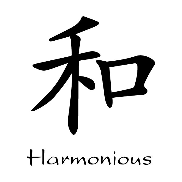 Harmonious Chinese Characters He Kaiti Engtrans 4 Wall Decal