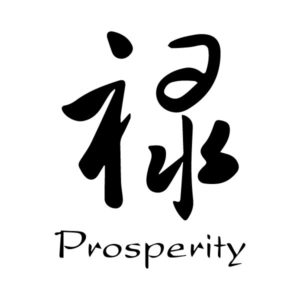 Prosperity Chinese Characters Lu Caoshu Engtrans 6 Wall Decal