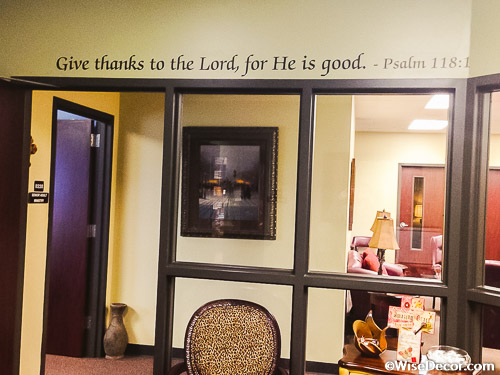 Give thanks to the Lord, for He is good Wall Decal