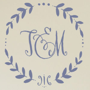 Wreath Monogram Wall Decal