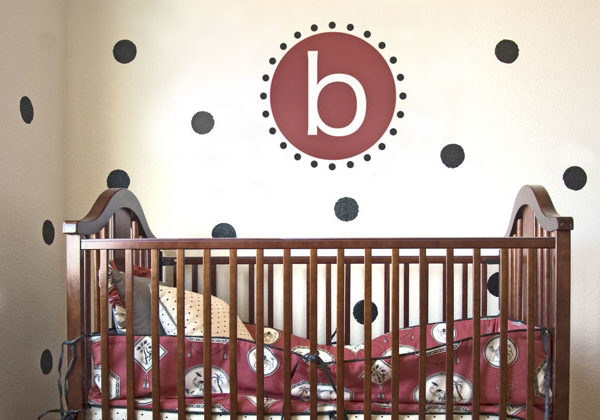 Polka dots Monogram Wall Decal