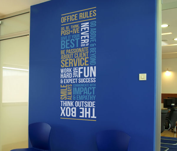 Client Office Rules version 1 Wall Decal